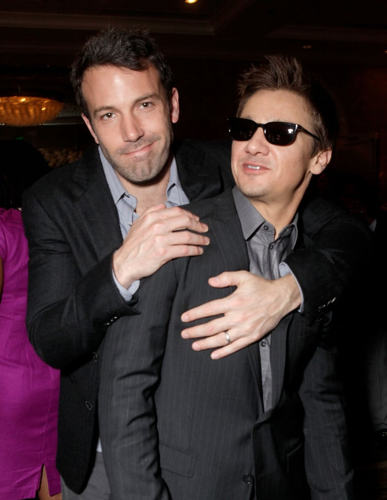 """Ben Affleck joked around with his sunglasses-wearing costar from The Town, Jeremy Renner, yesterday afternoon at a BAFTA Los Angeles Tea Reception held in the the Four Seasons Hotel. The duo were fresh off a night spent at Friday's Critics' Choice Awards, where Ben spent a good chunk of the evening kissing and hugging his lovely wife Jennifer Garner. Michelle Williams was a lucky girl in the middle of a director sandwich, as she chatted with Blue Valentine's Derek Cianfrance and The King's Speech's Tom Hooper. Andrew Garfield got lots of love from his Spider-Man leading lady Emma Stone at the CCAs, but he stayed close to his girlfriend Shannon Woodward, who's also good friends with Robert Pattinson. He was happy to be in the same place as so many of Hollywood's A-list, saying, """"It's nice being in a room with such inspiring, wonderful people to talk to."""" Nicole Kidman, meanwhile, didn't bring her husband Keith Urban, but she was seen animatedly talking with Black Swan mastermind Darren Aronofsky. It was the latest event for the award season regulars, and most will be out again this evening for the Golden Globes —stay tuned later for photos and news from the big show!"""