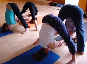 partner yoga pose double standing straddle  popsugar fitness