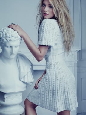 Blake Lively wore a white dress in Bullet magazine.