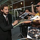 Shia LaBeouf signed autographs for fans at the LA premiere of Lawless.