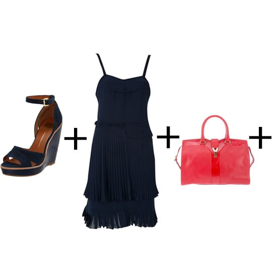 The key to this look is contrast. Navy can look conservative, so pick a frock with flirty details. A knife-pleat skirt and thin straps will keep it fun, and a scarlet (designer) bag provides the perfect pop of colour. Wedges, approx $135, Dolce Vita at Amazon, dress, approx $274, See by Chloé  at Far Fetch and bag, approx $2,476 Yves Saint Laurent at Far Fetch.