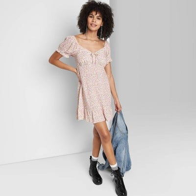 Wild Fable Sweetheart Ruffle with Tie-Back Dress