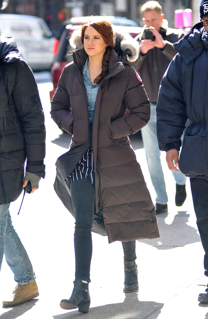 Shailene Woodley bundled up on the set of The Amazing Spider-Man 2 in NYC on Monday.