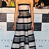 Olga Kurylenko's striped light-pink-and-gray Christian Dior gown showed off her svelte figure at the Oblivion premiere in Tokyo.