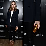 At the Pain and Gain screening in New York City, Olivia Palermo brightened up her menswear-inspired ensemble with Zara's neon minaudière  (£19.99). Shop the rest of her Zara look here.