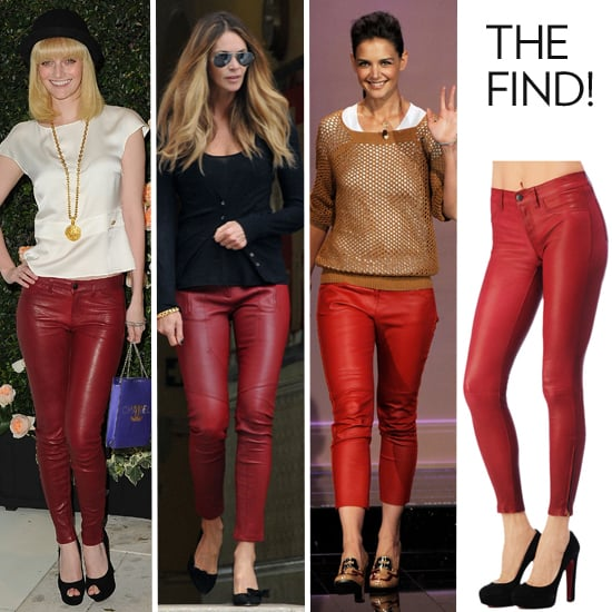 Shop the Red Leather Pants Trend as Seen on Elle Macpherson, Lydia Hearst and Katie Holmes
