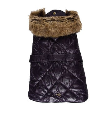 Juicy Couture Quilted Dog Trench Coat with Faux Fur ($65)