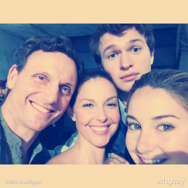 Ansel Elgort, who plays Caleb Prior in the movie, shared this shot of his onscreen family: Tony Goldwyn as Mr. Prior, Ashley Judd as Mrs. Prior, and Shailene Woodley as the film's heroine, Tris Prior. Source: Ansel Elgort on WhoSay