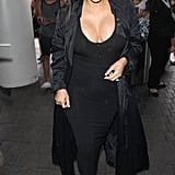 All black kept Kim's look unified, and again, she added her lace-up heels to give just a touch of the trends.