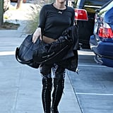 Miley Cyrus wore an all-black ensemble in Burbank.