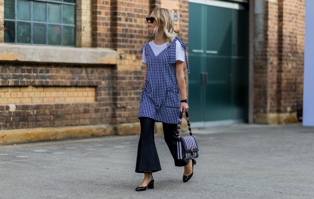 Play Up the Femininity of Gingham Print With Bell Bottoms and Block Heels