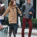 The adorable duo cracked up during a couple's outing in NYC in November 2011.