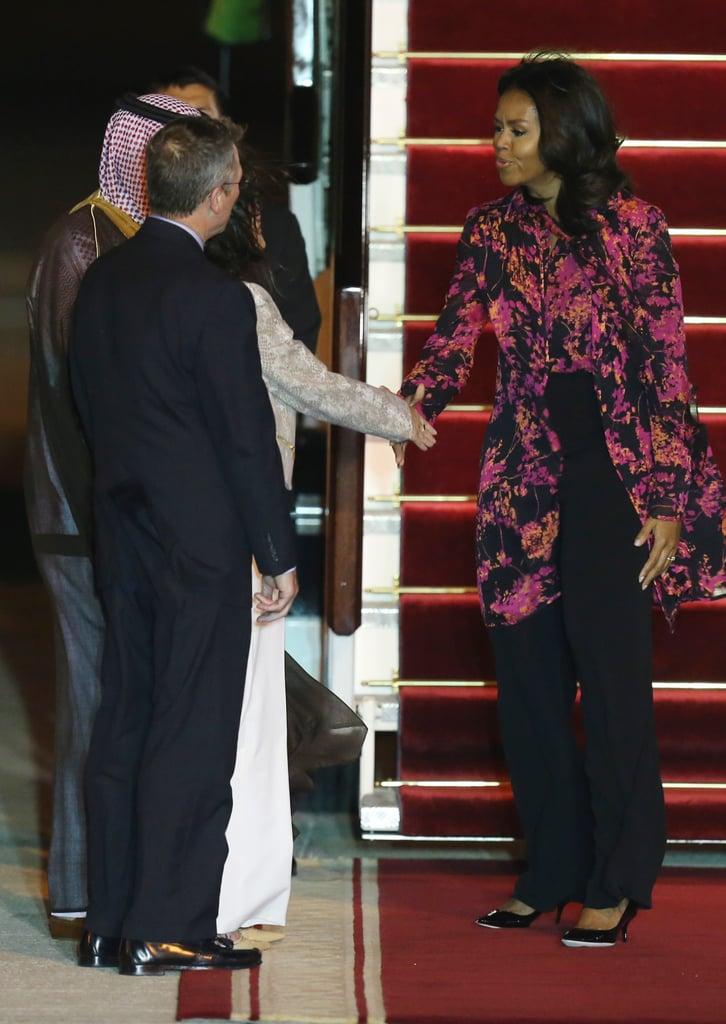 Michelle Obama Airport Style in Qatar | 2015