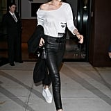 Gigi Hadid Wore a Beaded Prada Shirt and Paige Leather Pants