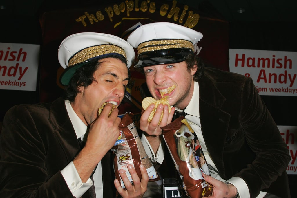 Andy and Hamish couldn't get enough of the Smith's gravy-flavoured chips at the product's launch in Sydney in June 2008.