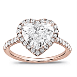 French Cut Pave Heart Halo Engagement Setting in 14K Rose Gold