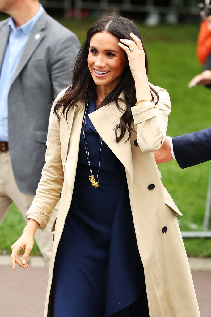 Meghan Markle and Prince Harry had a number of high points from their tour of Australia — dramatic fly-swatting, moments of PDA, and receiving sweet gifts from young fans. But one of the standout highlights was when a young boy named Gavin gifted Meghan with a pasta necklace dipped in gold that he made himself. The present instantly made our hearts melt, but the story doesn't end there. In fact, it gets even better. Gavin has set up a website through which he sells his now-famous golden pasta necklaces for $20. According to Gavin's mother, Rowan Hazelwood, the money will be donated to charity in hopes of bringing awareness to stillborn babies. This particular cause is especially meaningful to the family because Gavin's first sister was stillborn in 2014.  It truly is heartwarming to see someone so young already wanting to make a positive impact in the world. With a royal rocking his very own necklace, it's safe to say that this is one of Gavin's crowning moments. View more photos of Meghan donning the handmade pendant ahead.