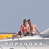 Jennifer and Justin lounged on a boat during their vacation in Capri, Italy, in June 2012.
