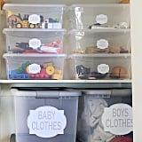 Get Baby's Closet Organized With Plastic Bins and Labels
