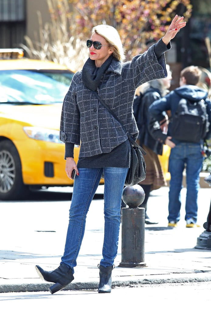 Cameron Diaz dramatically hailed a taxi yesterday in NYC's West Village after getting lunch at Morandi. She's hanging out in the Big Apple after a busy few months that have taken her to LA, Philadelphia, Geneva, and London. Cameron's latest stint in Hollywood gave her a chance to attend the Oscars, where she took the stage with her What to Expect When You're Expecting costar Jennifer Lopez —don't forget to enter our contest and get in the running to meet Jennifer Lopez! Cameron also made the party rounds in LA with rumored love interest Diddy. Both Cameron and Diddy attended Vanity Fair's Oscars afterparty. There may, though, be another guy in Cameron's life. Reports also linked her to Jude Law while out on the West Coast in March.