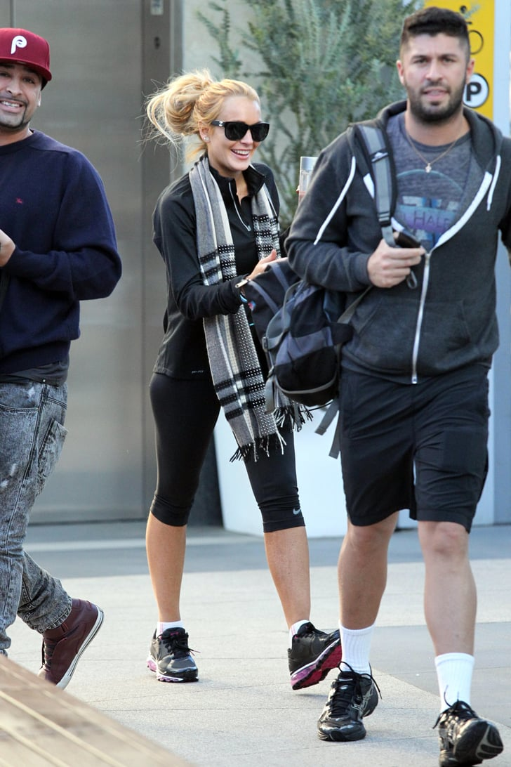 Pictures of Lindsay Lohan Exercising After Rehab