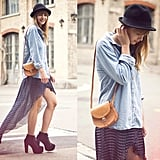 This styler gave her dots the cool-girl treatment with a high-low hemline, a denim button-down, and a felt fedora.  Photo courtesy of Lookbook.nu