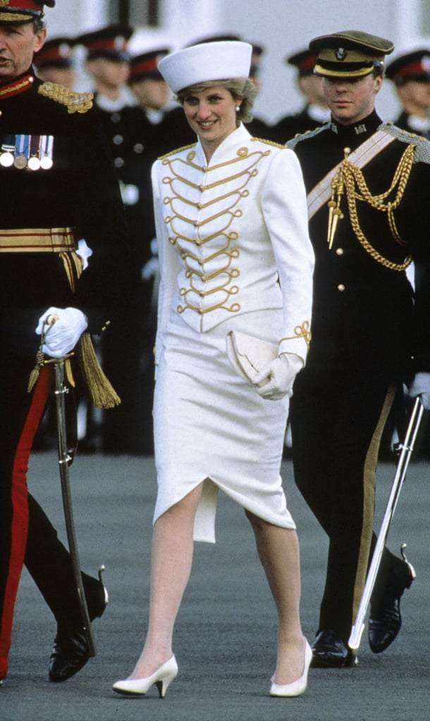 In 1987, Diana channelled military chic in a white and gold two-piece by her favourite designer Catherine Walker.
