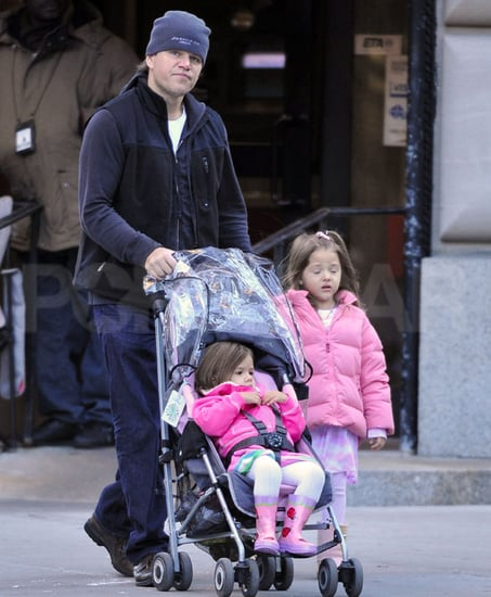 Pictures of Matt Damon in NYC With Daughters Gia and Isabella