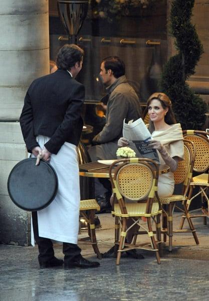 Photos of Angelina Jolie on the Paris set of The Tourist