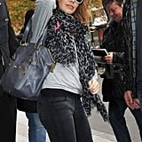 Guess Who's Bundling Up in a Leopard Print Scarf?