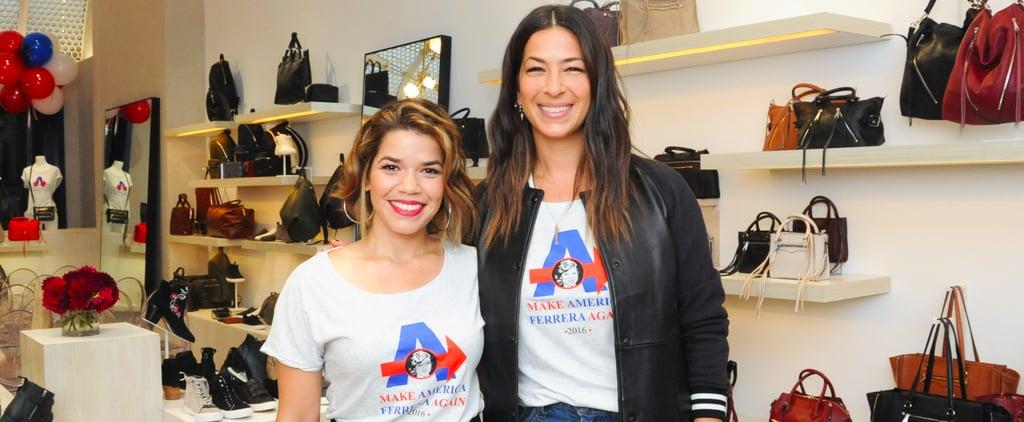 America Ferrera Talking About Her Rebecca Minkoff T-Shirt