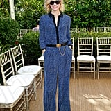 January Jones did the print-on-print thing in silky separates.