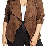 BB Dakota Wade Drape Front Faux Suede Jacket