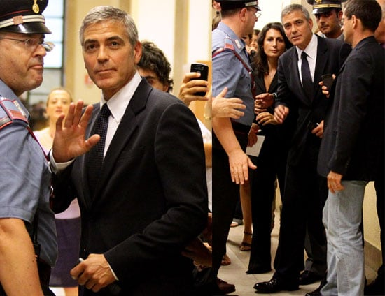 George Clooney Arriving at a Court Hearing in Italy