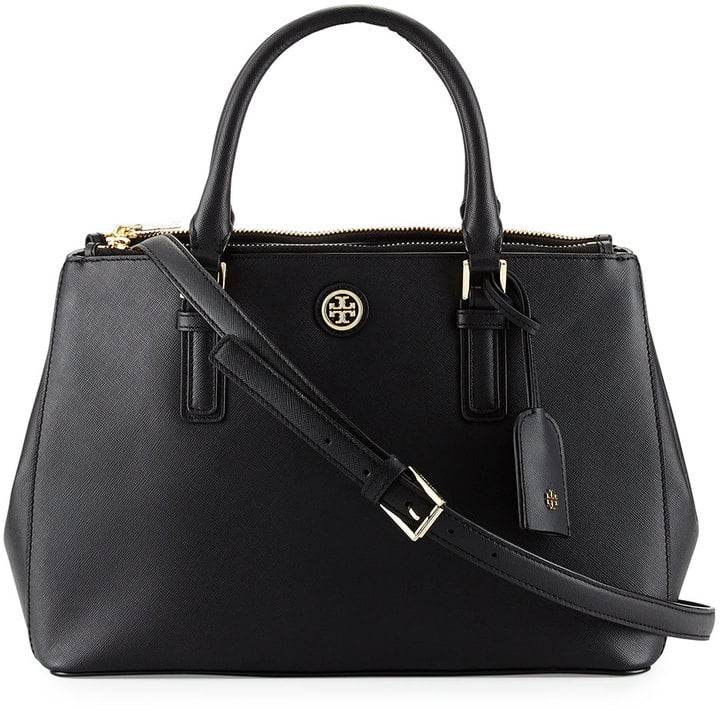 Tory Burch Robinson Mini Double Saffiano Satchel Bag, Black ($495)