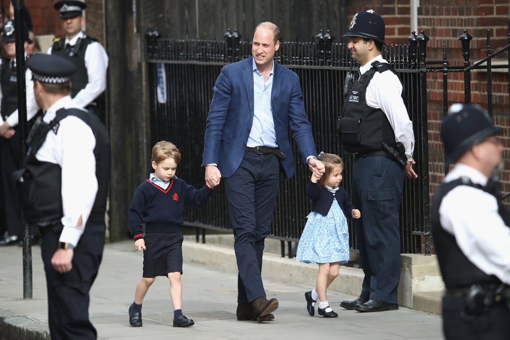 Prince George and Princess Charlotte have a new sibling! Just hours after Kate Middleton gave birth, the young royals were spotted arriving at St. Mary's Hospital in London with Prince William to meet their baby brother. The duo looked cute as can be as they made their way into St. Mary's Hospital in London. Charlotte even gave a cute wave!  Just like his siblings, the royal baby will have a very long title. The newborn, who is fifth in line for the throne, will go by His Royal Highness Prince of the United Kingdom of Great Britain and Northern Ireland. We certainly can't wait to see the three royals together. Of course, if George and Charlotte's bond is any indication, we have no doubt the two will be an excellent big brother and big sister for the newborn.