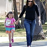Searphina Affleck skipped during an outing with Jennifer Garner.