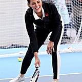 Kate Middleton played tennis with kids.