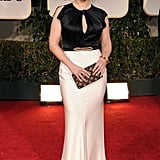 Kate Winslet a in black and white gown at the 2012 Golden Globe Awards.