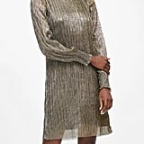 Metallic Boat-Neck Shift Dress