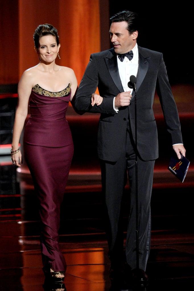 Tina Fey and Jon Hamm at the 2012 Emmy Awards