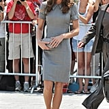 Kate's heather-gray Catherine Walker dress might be our favorite style from the tour. Its peter pan collar and rolled sleeves offered a unique touch, and Kate amped up her style with flashy Tabitha Simmons heels and a Hobbs bag. No wonder the duchess has chosen this look for so many occasions.