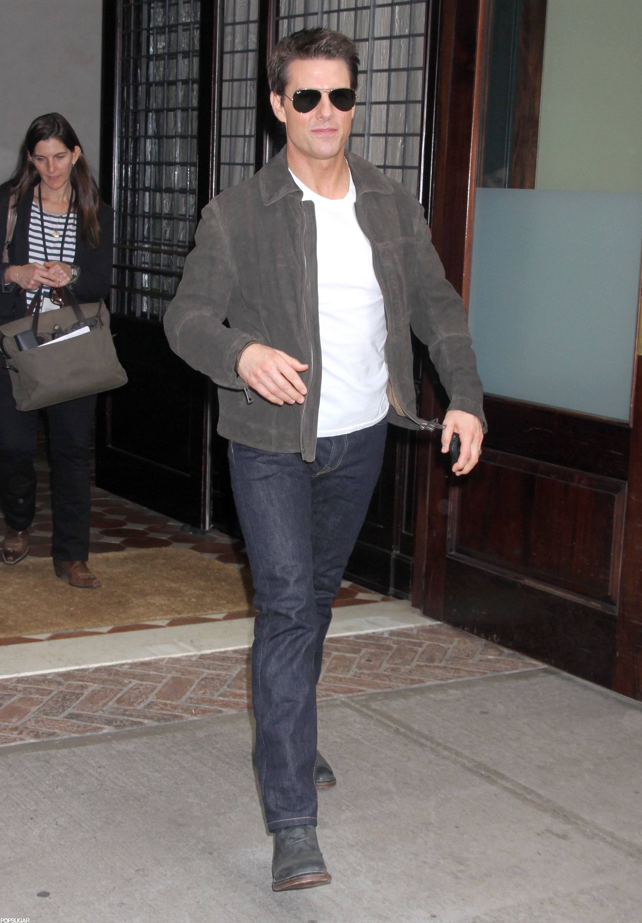 Tom Cruise wore jeans and a jacket in NYC.