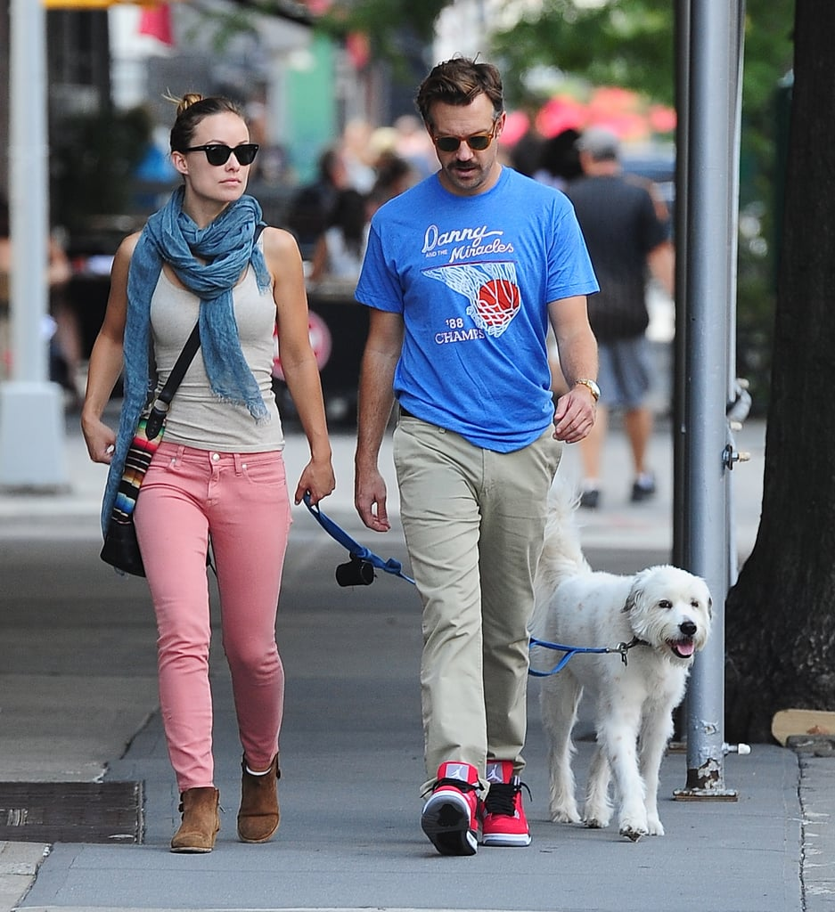 Olivia Wilde and Jason Sudeikis took their dog for a walk around NYC in July 2013.