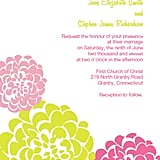 Pink and Gold Chrysanthemum Wedding Invitation
