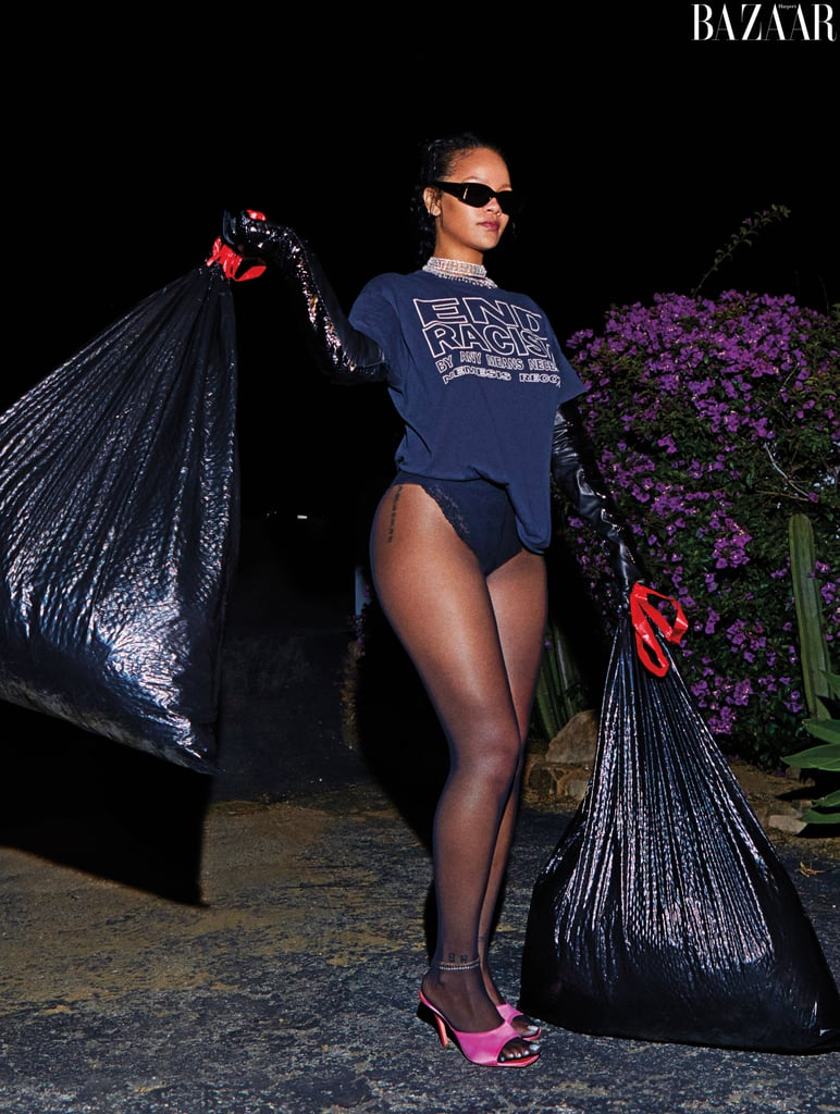 Rihanna Takes Out the Trash in Heels in Harper's Bazaar