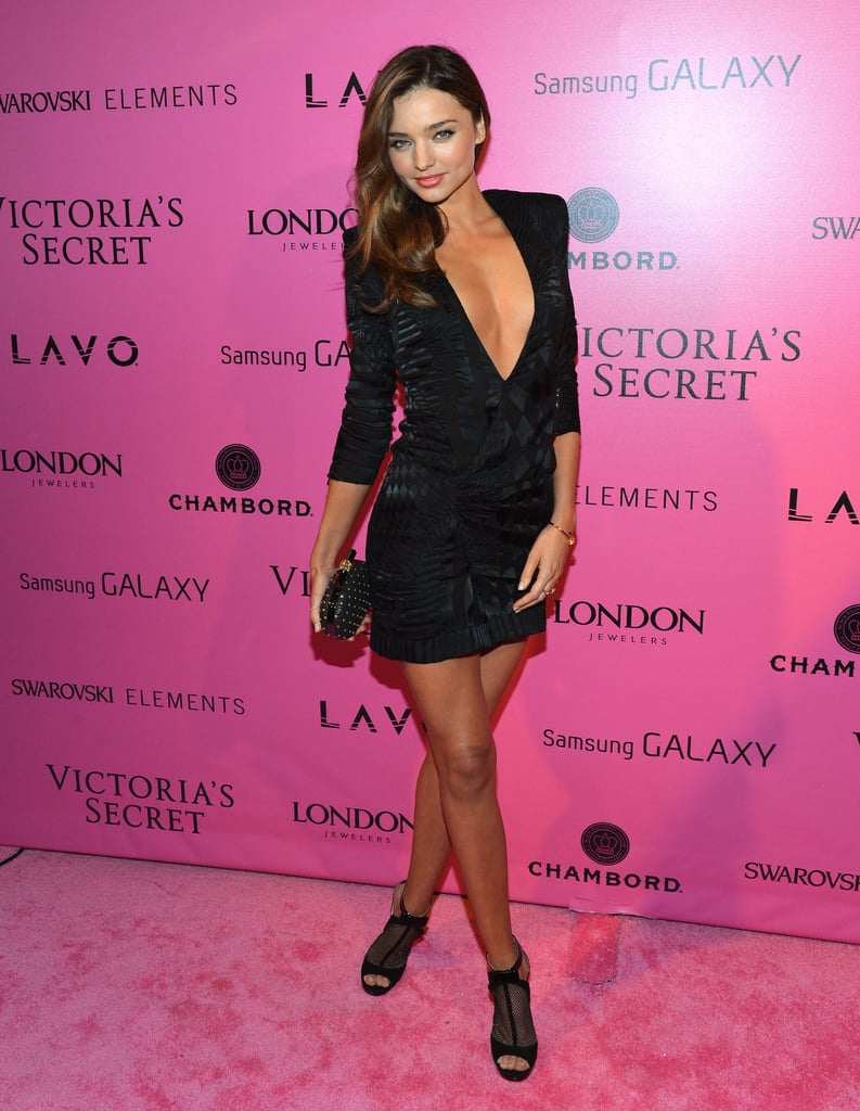 Miranda Kerr made a sexy statement in November at the Victoria's Secret runway show after-party, wearing a black Balmain mini with a plunging neckline.