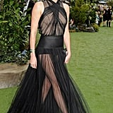 Charlize Theron wore a sheer black Christian Dior dress for the May 2012 UK premiere of Snow White and the Huntsman.