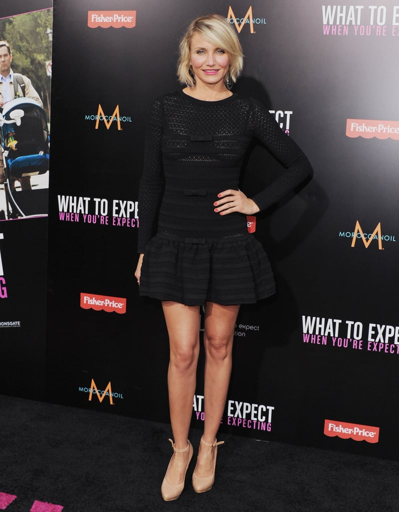 Cameron Diaz gave a glimpse of her famous pins in a black fit-and-flare Valentino mini in May.