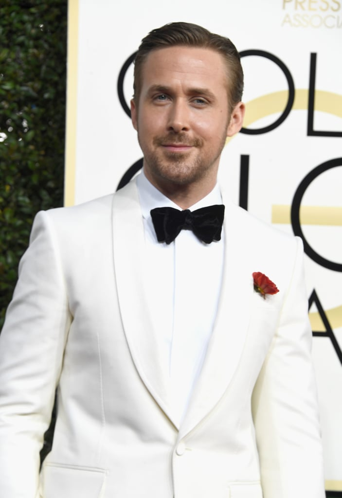 After hitting up the BAFTA Tea Party with Emma Stone on Saturday, Ryan Gosling dropped jaws when he arrived at the Golden Globes in LA on Sunday. Even though Ryan didn't bring his other half, Eva Mendes, he certainly made up for it with his swoon-worthy appearance. Ryan is nominated for best actor for his role in La La Land, so fingers crossed he wins tonight.      Related:                                                                                                           The Golden Globe Awards Are Packed With Sexy Men